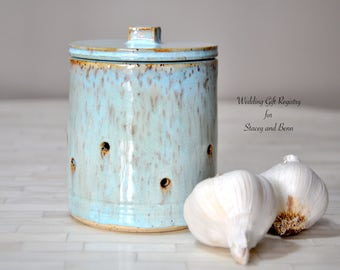 Wedding Registry for Stacey and Benn, Pottery, Garlic Keeper, Wheel Thrown Pottery, Kitchen, Counter Items, Wedding Registry, Gift, Ceramics