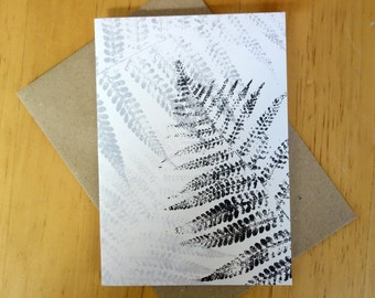 Black/white card, A6, folded, with a monoprint of fern-leaf, blank inside, with envelope