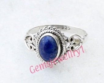 Lapis lazuli ring - Deep blue ring - Lapis ring - Round ring - Bezel ring - Gemstone ring - Artisan ring size 5 6 7 8 9 ,ring-0314140490
