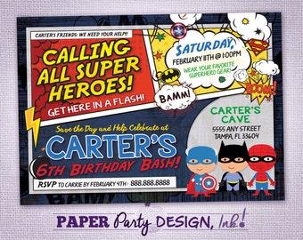 Super Hero Birthday Party Invitation, Super Hero Party Invitation, Super Hero Digital Invitation, Super Hero Printable Invitation
