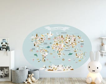 Blue Oval WorldMap Vinyl, kids printables, countries, animals