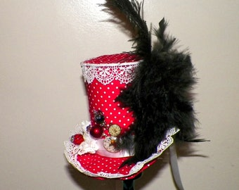 Red Mini Top Hat Fascinator  White Black Gothic Cosplay Costume Steampunk  Bridal Altered Art  Tea Party