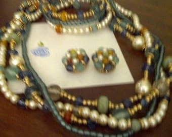 Colorful Vintage Liz Claiborne (signed LCi) Three-Piece Lucite Set: Necklace, Bracelet, Earrings
