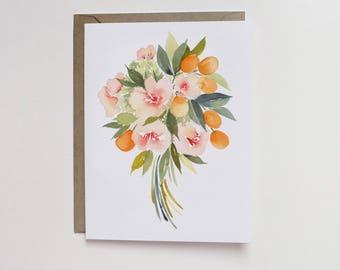 Watercolor Kumquat Bouquet A2 Greeting Card