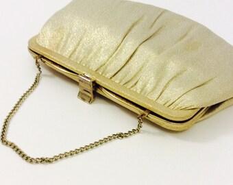 1960s Gold Evening Clutch Purse by Ande 60s Gold Lame Clutch, Wristlet Vintage Bag Designer Formal Handbags Gold Metallic Fabric Purse