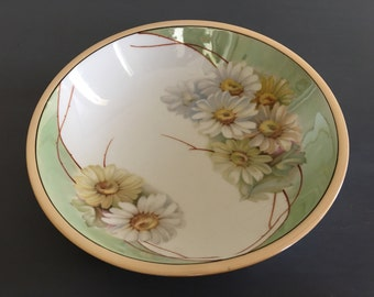 Lovely Art Deco midcentury modern German porcelian fruit bowl - yellow blue pink white green daisy design with opalescent glaze!