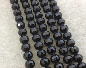 """8mm Glossy Finish Faceted Opaque Jet Black Chinese Crystal Round/Ball Shaped Beads - Sold by 16"""" Strands (Approx. 54 Beads) - (CC8-02)"""