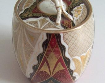 Antique Austrian Hand Painted Porcelain Alhambra Pattern Jam Jar / Sugar Bowl