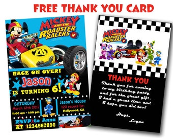 Mickey And The Roadster Racers Invitation - Mickey And The Roadster Racers Birthday Party Invite, You Print Invitation, Mickey Mouse Party