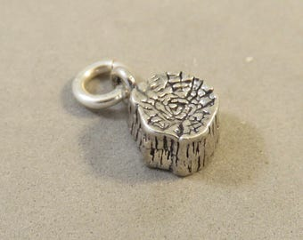 PETRIFIED FOREST National Park Charm .925 Sterling Silver Arizona Travel Tourist Wood Stump Log Pendant New tr154