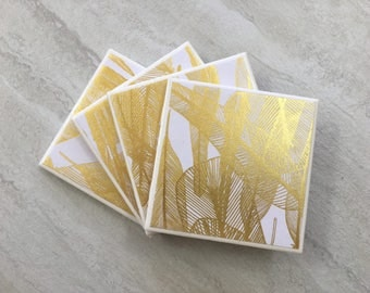 Gold Coasters, Leaf Coasters, Gold Leaf Coasters, Wedding Coasters, Wedding Gift, Tile Coasters, Ceramic Coasters, Coaster Set, Coasters