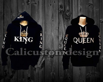 Two Black hoodies one King and one Queen