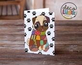 pug card, pug gift, pug greeting card, pug illustration, pug lover, cute pug card, funny pug card, colorful pug card, pug anniversary card