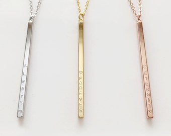 4 sided hand stamped Long Necklace - Long Pendants long chain layering necklace - L4N