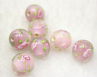 Lamp work 10mm 12mm Pink Blue Rose Flower Glaze Bead Glass Beads Lucky Bead Design Charm Bracelet Handmade Beads DIY bracelets Bead Supply