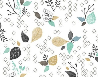 Crib Sheet | Baby Boy Bedding | Mint Gold Crib Sheet | Blue Teal | Woodland Nursery | Leaves Forest | Standard or Mini | Changing Pad Cover