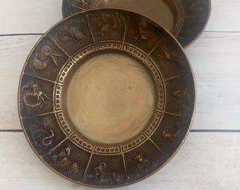 Chinese Zodiac Dish/ Zodiac/ Chinese New Year Rooster/ Brass dish/ Bohemian decor/ Brass Catch All/ Asian decor/ Brass bowl/ Incense Bowl