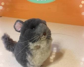 Needle Felt Animal Sculpture - Blue Chinchilla Hamster