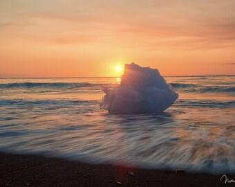 Iceberg Washed Ashore, Jökulsárlón Beach-- Iceland, Sunrise Landscape