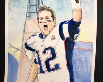 Tom Brady 11x15 watercolor original.