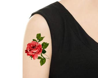 Temporary Tattoo - Rose / Carnation Vintage Flower Tattoo - Various Patterns and Sizes
