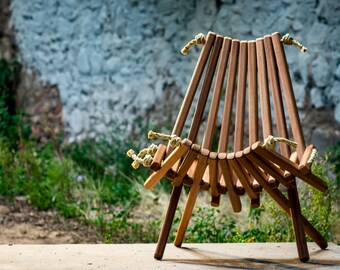 2 Mahogany Pioneer Chairs/Deck Chair/Wooden/Rope Folding Chair/Folding Wooden Chair/ Furniture/Deck/Patio/Lounge/Stylish/Interior