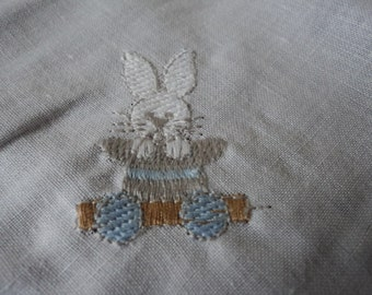 French vintage Winkler embroidered rabbit handkerchief in a gift bag 303952-53-54)
