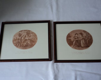 REDUCED - Two French Vintage framed engravings by Jean Baptiste Huet (P00069)