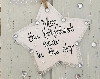 personalised brightest star in the sky bereavement plaque keepsake gift