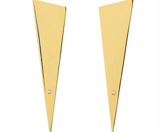 Modern spike earrings - Minimalist statement earrings with diamonds - Diamond earrings - Gold diamond earrings - Statement diamond earrings