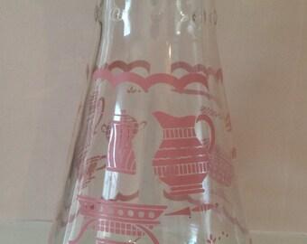Vintage EZ Pour pink design carafe with lid