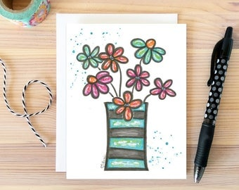 Flower Bouquet. Just Because Card. Daisy Greeting. Anniversary Card. Watercolor Flower Card. Bestie Gift. Card for Girlfriend. Gift for Her.