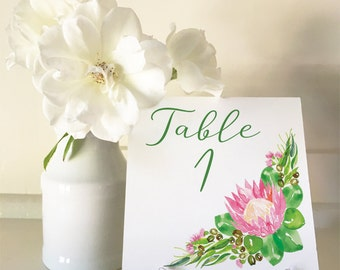 Protea - A5 Table Numbers 1 to 30 Square - DIY Wedding & Printable