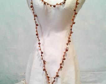 Long necklace, crochet crochet, crystals, copper, drops, agate, boho-chic, wraps, cod. K69