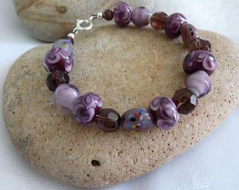 Unique Purple Lampwork Glass Bead Bracelet