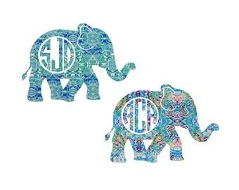 NEW Lilly Pulitzer Inspired Elephant Monogram Decals; Lilly monogram sticker; Lily Lilly decal; Yeti monogram; Yeti sticker; DIY