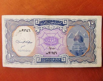 1940 Very Rare Egyptian 10 PIASTERS Paper Money Banknote