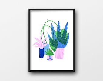 A4 Plants Risograph print, edition of 25