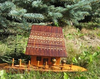 Small wooden moneybox house, display case for miniatures, dolls moneybox house, moneybox craft storage, Handmade Urainian House moneybox