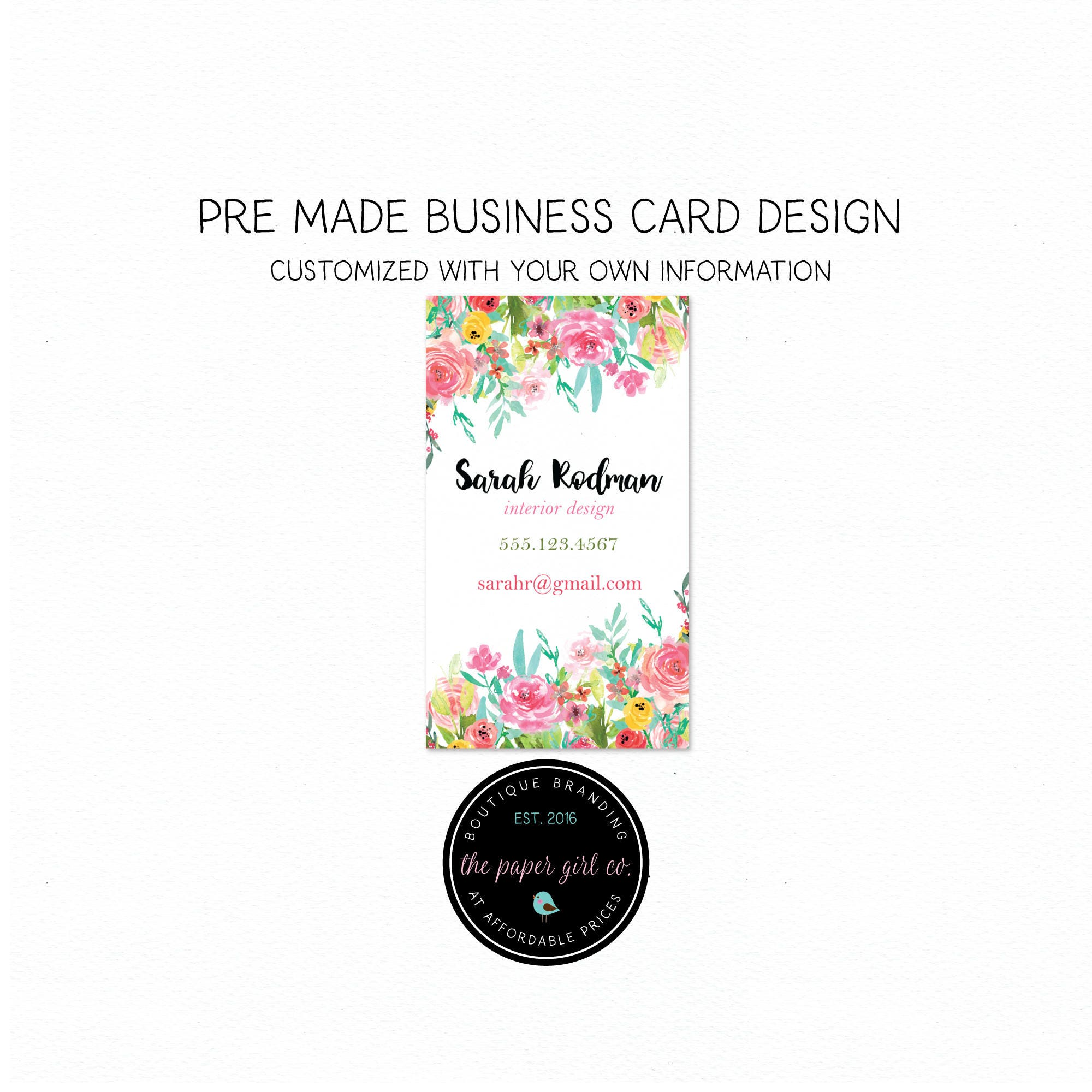 Business card design florist business card photography business card business card design florist business card photography business card beauty business card social card thank you reheart Image collections