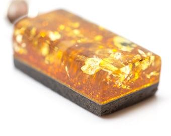 Amber Pendant, Baltic Amber Pendant, Baltic Amber Jewelry, Amber Jewellery, Natural Jewellery, Wood Pendant, Amber and Wood, Square Pendant