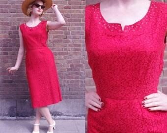 Red 50s Rhinestone Lace Wiggle Dress M // Sleeveless Fifties Vintage Dress Pencil Skirt Medium
