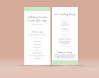 Wedding Ceremony Church Program No. 1- Printable PDF