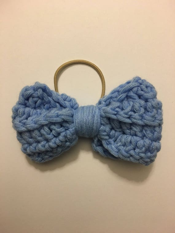 Hair bow, crochet bow, girls accessories, blue bow, knit hair accessories, crochet hair bow, bow hair tie