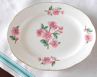 Floral China Platter Homer Laughlin Pink Apple Blossom