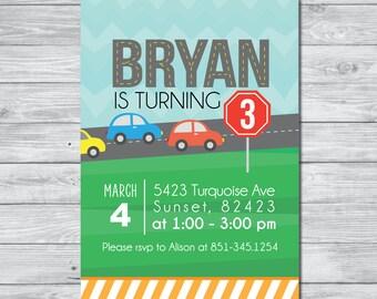Cars Birthday Party Invitation | Kids Invitation | Digital Download Invitation