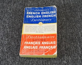Vintage Larousse's French-English English-French Dictionary, C. 1954