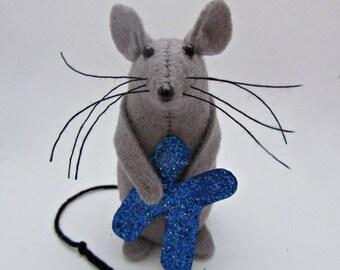 Alphabet Mouse  - Alphabet Cake Topper - Initial Mouse Ornament- Felt Mouse