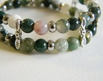 Multi Colored Green Beaded Stretchy Bracelet / Silver Tone / 2 Rows