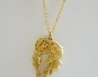 Brushed Gold Tone Zodiac Virgo Pendant Chain Necklace